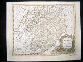 Guthrie & Kitchin 1777 Antique Hand Col Map. Russia or Moscovy in Europe